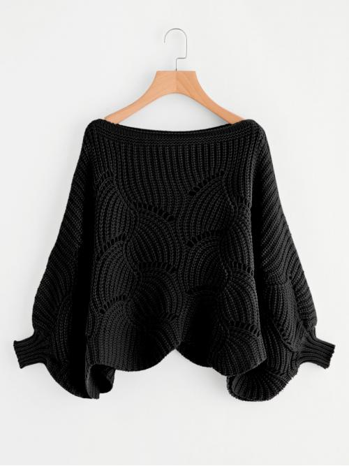 Casual Plain Pullovers Oversized Boat Neck Long Sleeve Batwing Sleeve Pullovers Black Regular Length Eyelet Detail Dolman Sleeve Scalloped Sweater