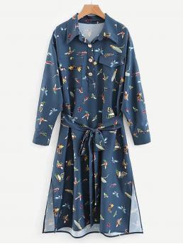 Boho Shirt Animal Slit Loose Collar Long Sleeve Natural Blue Midi Length Self Tie Animal Print Slit Hem Shirt Dress with Belt