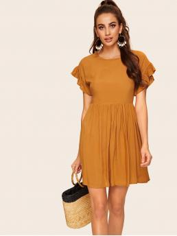 Cute A Line Plain Regular Fit Round Neck Short Sleeve Flounce Sleeve High Waist Yellow Short Length Contrast Ruffle Cuff Zip Back Babydoll Dress