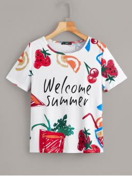 Casual Fruit&Vegetable and Slogan Regular Fit Round Neck Short Sleeve Pullovers Multicolor Regular Length Letter & Fruit Print Tee