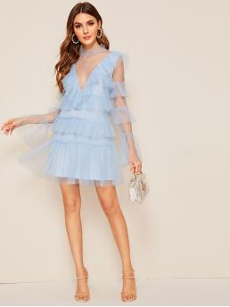 Romantic Fitted Plain Flounce Loose Stand Collar Long Sleeve Flounce Sleeve Natural Blue and Pastel Short Length Keyhole Back Layered Ruffle Mesh Overlay Dress with Lining
