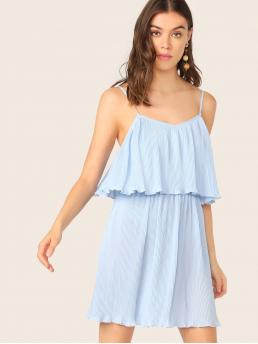 Boho Cami Plain Straight Loose V neck and Spaghetti Strap Sleeveless Natural Blue and Pastel Short Length Two Layer Pleated Cami Dress