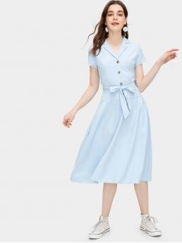 Casual Shirt Plain Flared Notched Short Sleeve Natural Blue Midi Length Button Detail Belted Dress with Belt
