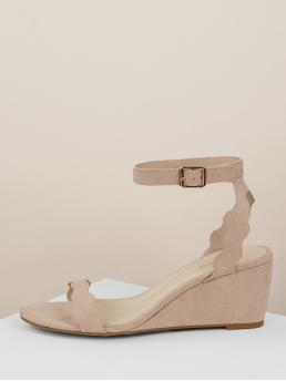 Comfort Platform Ankle Strap Nude Mid Heel Scalloped Ankle Wrap Low Open Toe Wedges