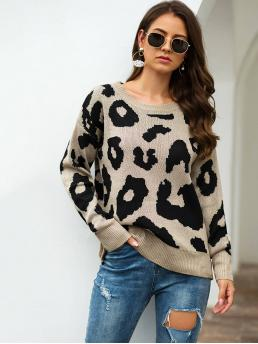 Casual Leopard Pullovers Regular Fit Round Neck Long Sleeve Pullovers Khaki Regular Length Round Neck Leopard Print Sweater