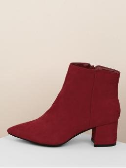 Business Casual Other Point Toe Plain Side zipper Burgundy Mid Heel Chunky Pointed Toe Block Heel Ankle Boots