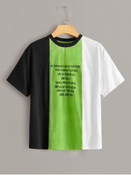 Casual Colorblock and Slogan Regular Fit Round Neck Short Sleeve Regular Sleeve Pullovers Multicolor Regular Length Slogan Print Colorblock Tee