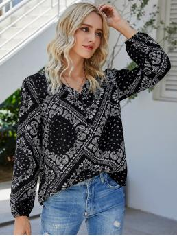 Long Sleeve Top Polyester Scarf Print Paisley Blouse Fashion