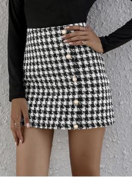 Womens Black and White High Waist Button Front Straight Skirt