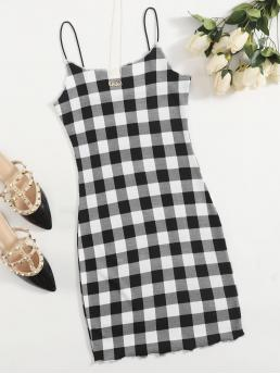 Black and White Gingham Lettuce Trim Spaghetti Strap Buffalo Plaid Dress Sale