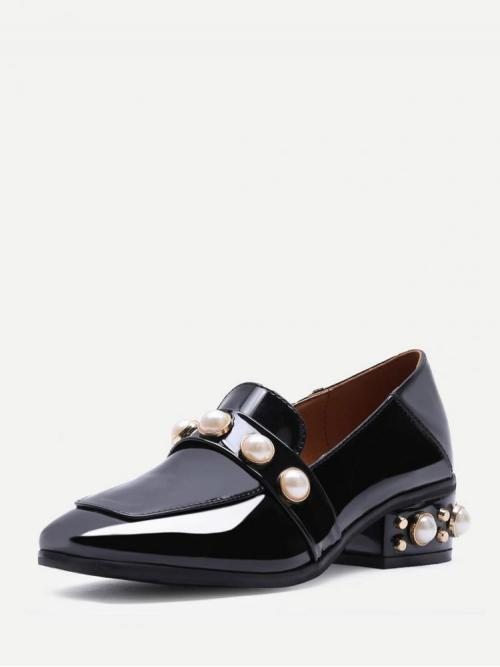Beautiful Corduroy Black Loafers Buckle Pearl Studded Patent Leather Low Heel