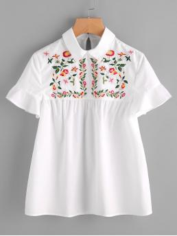 Cute Top Regular Fit Collar Short Sleeve Flounce Sleeve Pullovers White Embroidered Yoke Buttoned Keyhole Frill Sleeve Smock Top