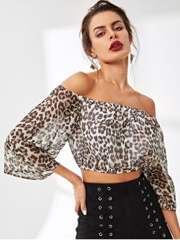 Boho Leopard Top Regular Fit Off the Shoulder Half Sleeve and Three Quarter Length Sleeve Flounce Sleeve Pullovers Multicolor Crop Length Leopard Print Crop Bardot Top