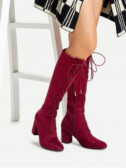 Comfort Other Almond Toe Plain Side zipper Burgundy High Heel Chunky Block Heeled Lace-up Boots