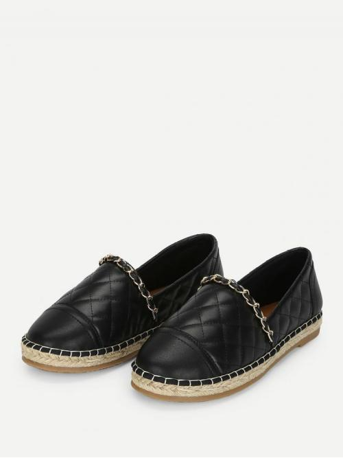 Beautiful Corduroy Black Espadrilles Embroidery Chain Decorated Espadrille Flats