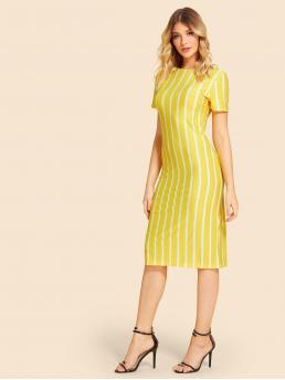 Ladies Yellow Striped Zipper Round Neck Vertical Pencil Dress