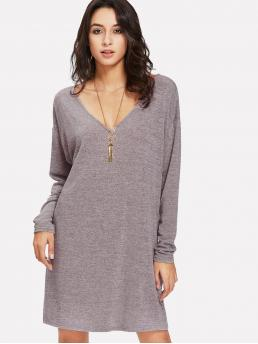Shopping Dusty Purple Plain Double Button V Neck Marled Knit Tee Dress