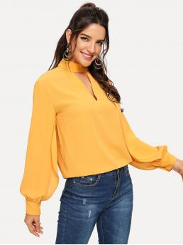 Casual Plain Top Regular Fit Stand Collar Long Sleeve Bishop Sleeve Pullovers Yellow Regular Length Keyhole Back Choker Neck Top