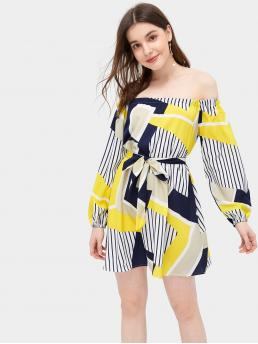 Boho Striped and Geometric Loose Off the Shoulder Long Sleeve Natural Multicolor Short Length Striped Belted Off The Shoulder Dress with Belt