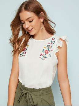 Cute and Boho Floral Top Regular Fit Round Neck Sleeveless Pullovers White Regular Length Embroidered Floral Ruffle Armhole Blouse