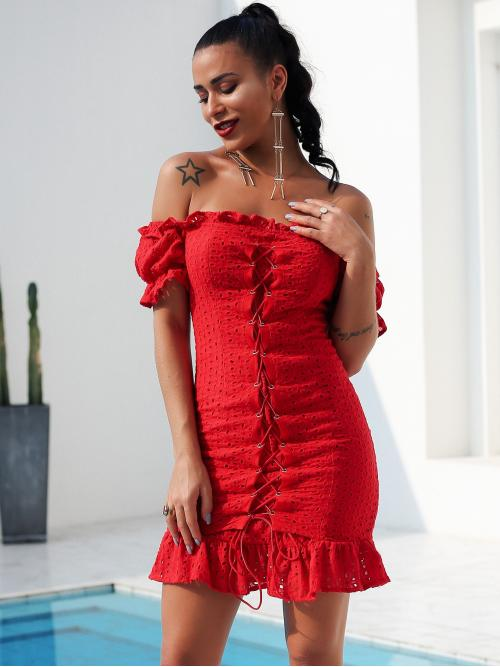 Boho Bodycon Plain Flounce Slim Fit Off the Shoulder Short Sleeve Natural Red Short Length Glamaker Lace Up Front Ruffle Hem Bardot Schiffy Dress with Lining