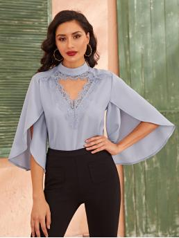 Elegant Plain Top Regular Fit Keyhole Neckline Three Quarter Length Sleeve Butterfly Sleeve Pullovers Blue and Pastel Regular Length Mock-Neck Split Sleeve Lace Trim Cut Out Top