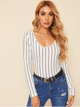 Casual and Basics Striped Regular Fit Scoop Neck Long Sleeve Regular Sleeve Pullovers White Regular Length Scoop Neck Striped Top
