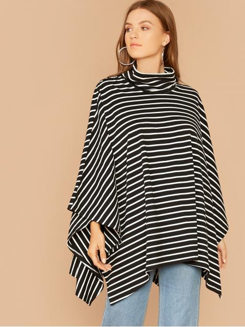 Casual Striped Regular Fit Funnel Neck Long Sleeve Cloak Sleeve Pullovers Black and White Longline Length Striped Print Cape Top