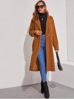 Casual Other Plain Regular Fit Lapel Long Sleeve Regular Sleeve Single Button Brown Midi Length Notched Collar Single Buttoned Teddy Coat