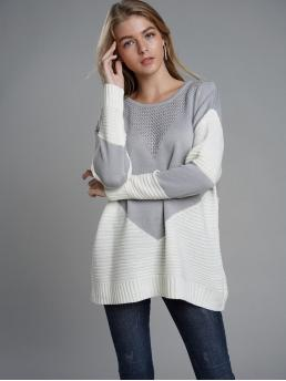 Casual Colorblock Pullovers Regular Fit Round Neck Long Sleeve Regular Sleeve Pullovers Grey Regular Length Contrast Panel Ribbed Knit Sweater