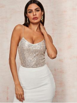 Glamorous Cami Plain Regular Fit Spaghetti Strap Multicolor Regular Length V-Neck Silver Sequin Cami Top with Lining