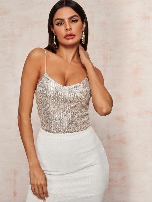 Glamorous Cami Plain Regular Fit Spaghetti Strap Beige Regular Length V-Neck Silver Sequin Cami Top with Lining