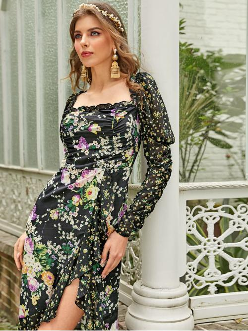 Glamorous Fit and Flare Floral Flounce Regular Fit Square Neck Long Sleeve Leg-of-mutton Sleeve High Waist Multicolor Long Length Gigot Sleeve Ruffle Hem Floral Print Dress