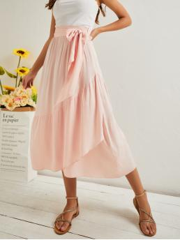 Baby Pink High Waist Tie Front a Line Solid Tie Side Skirt Discount