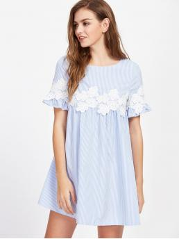 Cute Smock Striped Loose Round Neck Short Sleeve High Waist Blue Short Length Guipure Lace Striped Smock Dress