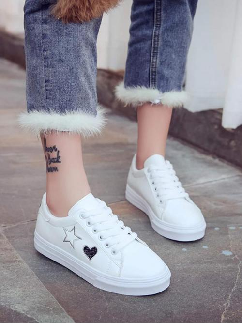 Fashion Velvet White Skate Shoes Embroidery Star Low Top Sneakers