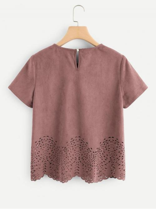 Beautiful Short Sleeve Top Button Polyester Scallop Laser Cut out Top