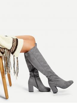Tweed Grey a Line Belted Block Heeled Boots Ladies