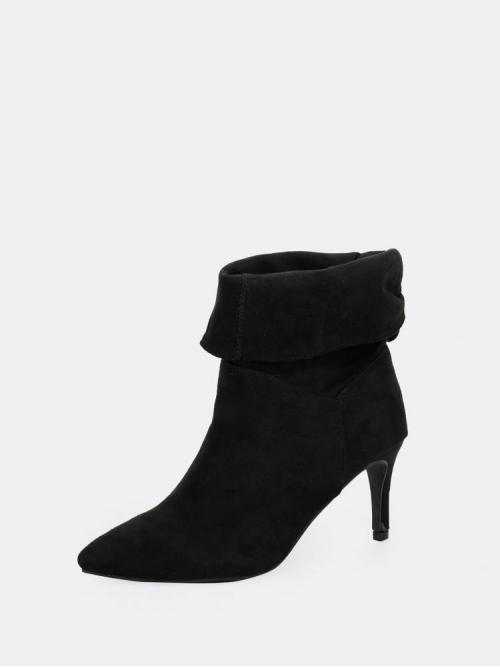 Corduroy Black Stretch Boots Tassel Fold over Shaft Pointed Toe Heel Boots Discount