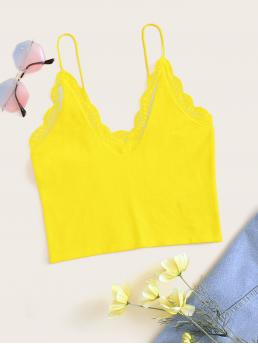 Casual Cami Plain Regular Fit Spaghetti Strap Yellow Crop Length Neon Yellow Lace Trim Crop Cami Top