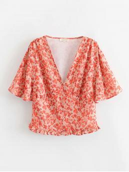 Boho Ditsy Floral Top Regular Fit V neck Short Sleeve Butterfly Sleeve Pullovers Orange Regular Length Ditsy Floral Frill Hem Blouse