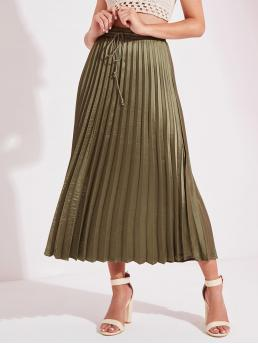 Glamorous Pleated Plain High Waist Army Green Long/Full Length Satin Pleated Longline Skirt
