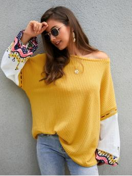 Casual Floral Pullovers Oversized Boat Neck Long Sleeve Pullovers Yellow Regular Length Contrast Embroidery Sleeve Oversized Sweater