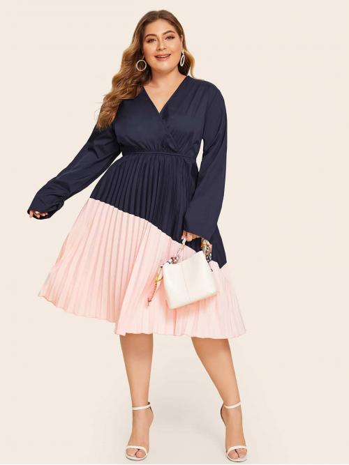 Casual A Line Colorblock Pleated Regular Fit V neck Long Sleeve High Waist Multicolor Long Length Plus Surplice Neck Cut And Sew Pleated Hem Dress