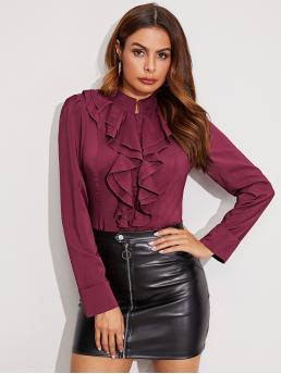 Elegant Plain Shirt Regular Fit Stand Collar Long Sleeve Regular Sleeve Placket Burgundy Regular Length Mock Neck Jabot Collar Blouse