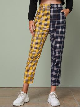 Preppy Colorblock and Tartan Straight Leg Regular Button Fly and Zipper Fly Mid Waist Multicolor Cropped Length Two Tone Slant Pocket Plaid Pants