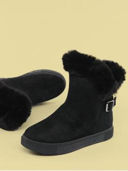 Comfort Other Almond Toe Plain No zipper Black Low Heel Faux Fur Cuff Cold Weather Boots