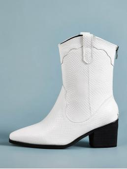 Business Casual Animal Back zipper White Mid Heel Chunky Lizard Print Point Toe Zip Back Chunky Boots
