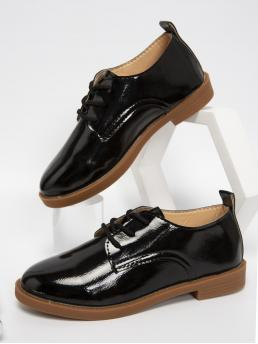 Black Oxfords Round Toe Pu Leather Minimalist Patent Leather Oxford Shoes Sale