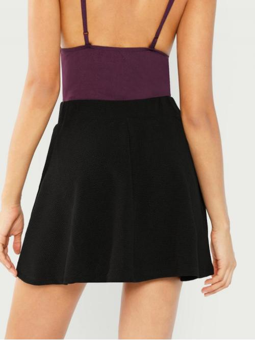 Shopping Black High Waist Patched Flared Textured High-rise Skater Skirt